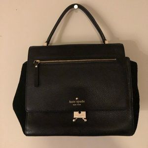 Kate Spade Black Leather & Suede Satchel Bag